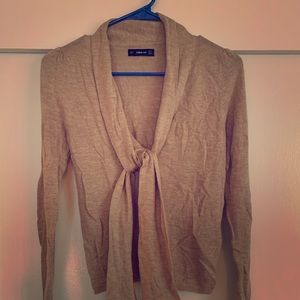 Taupe Zara Sweater with Tie Detail